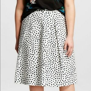 NWT Who What Wear Pleated Polka Dot Midi Skirt